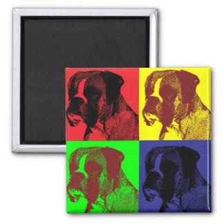 Boxer Dog Pop Art Style Square Magnet
