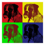 Boxer Dog Pop Art Style Poster
