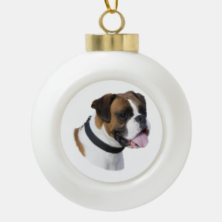 Boxer dog portrait photo ceramic ball christmas ornament