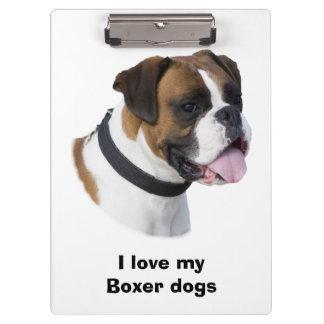 Boxer dog portrait photo clipboard