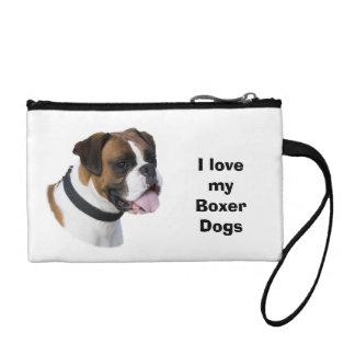 Boxer dog portrait photo coin purse