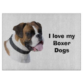 Boxer dog portrait photo cutting board