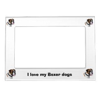 Boxer dog portrait photo magnetic frame