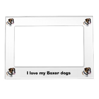 Boxer dog portrait photo magnetic photo frame