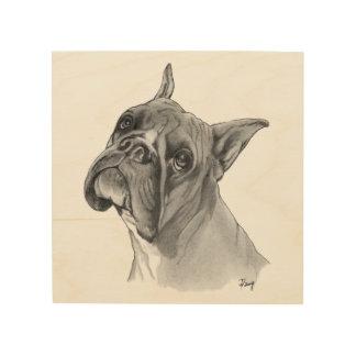 Boxer Dog Portrait Wood Print