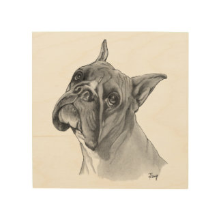 Boxer Dog Portrait Wood Wall Decor