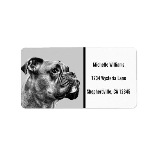 Boxer dog profile address label