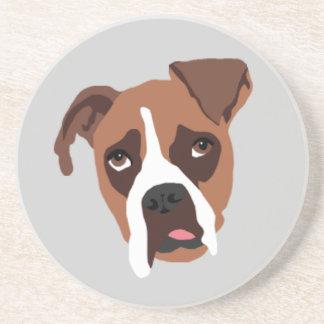 Boxer Dog Sandstone Drink Coaster