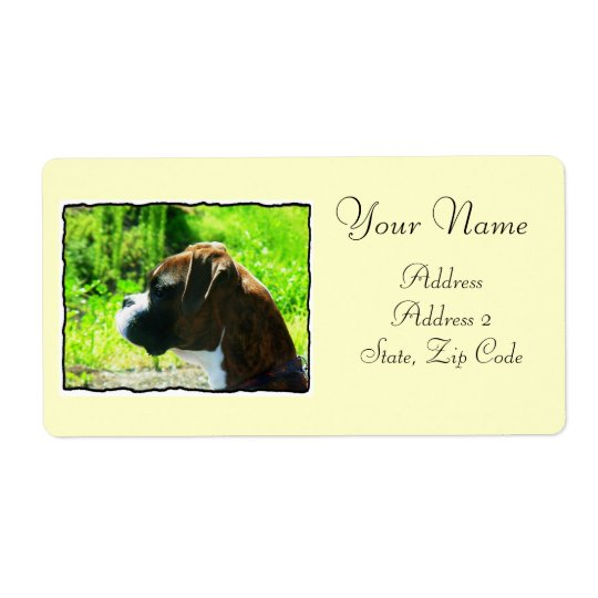 Boxer dog shipping label