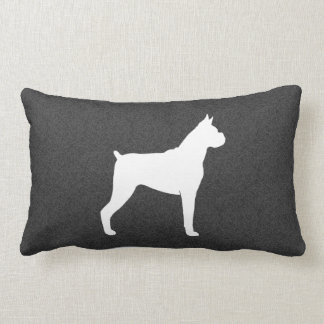 Boxer Dog Silhouette (Cropped Ears) Lumbar Pillow