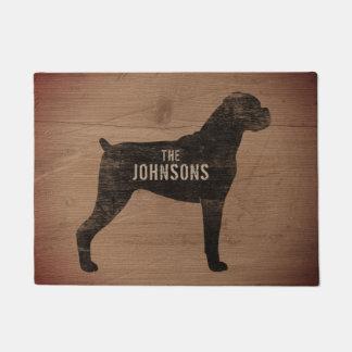 Boxer Dog Silhouette Custom Doormat