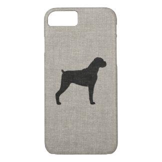 Boxer Dog Silhouette Faux Linen Style iPhone 7 Case