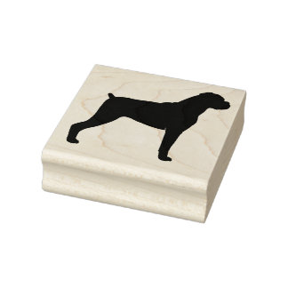 Boxer Dog Silhouette - Natural Ears Rubber Stamp