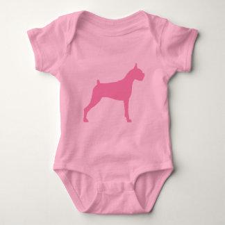 Boxer Dog Silhouette (pink) Baby Bodysuit
