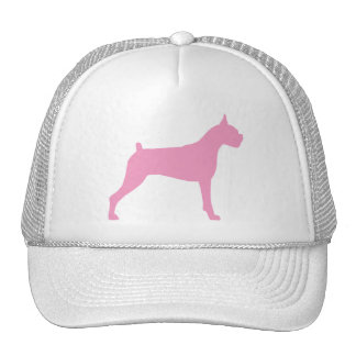Boxer Dog Silhouette (pink) Hat