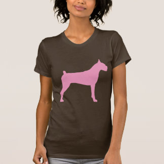 Boxer Dog Silhouette (pink) T-Shirt