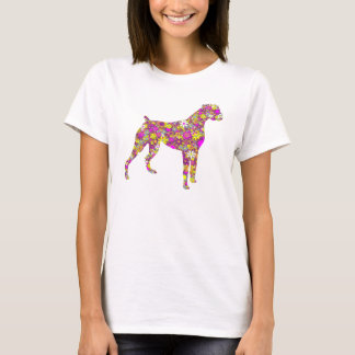 Boxer Dog silhouette T-shirt with flower pattern