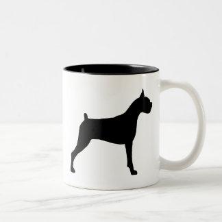 Boxer Dog Silhouette Two-Tone Coffee Mug