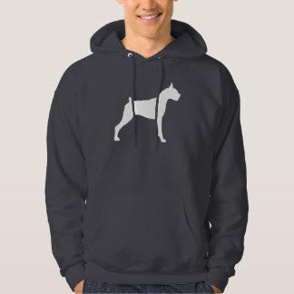 Boxer Dog Silhouette (white) Hoodie