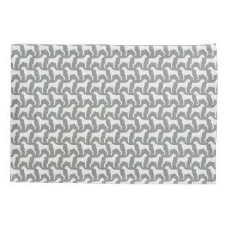 Boxer Dog Silhouettes Pattern Grey Pillowcase
