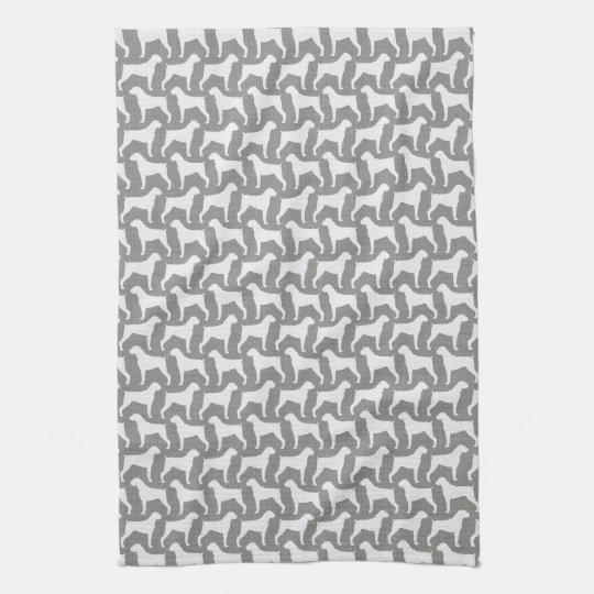 Boxer Dog Silhouettes Pattern Grey Tea Towel