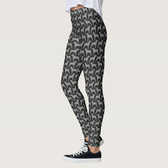 Boxer Dog Silhouettes Pattern Leggings