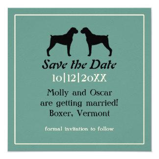 Boxer Dog Silhouettes Wedding Save the Date 13 Cm X 13 Cm Square Invitation Card