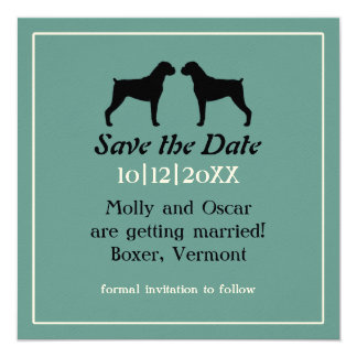 Boxer Dog Silhouettes Wedding Save the Date Card