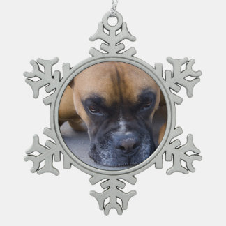 Boxer Dog Snowflake Pewter Christmas Ornament
