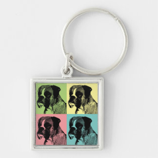 Boxer Dog Stamper Pop Art Key Ring