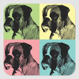 Boxer Dog Stamper Pop Art Square Stickers