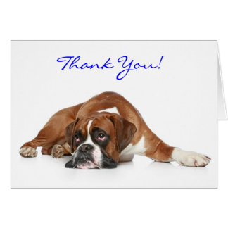 Boxer Dog Thank You  Notecard - Thank You Inside Note Card