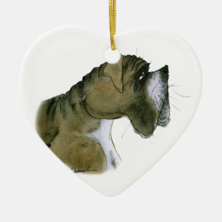 boxer dog, tony fernandes ceramic heart decoration