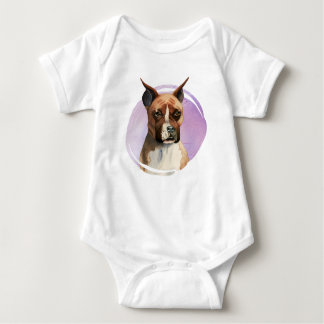 Boxer Dog Watercolor Painting Baby Bodysuit
