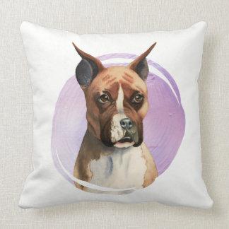 Boxer Dog Watercolor Painting Cushion