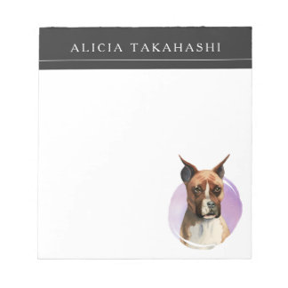 Boxer Dog Watercolor Painting Notepad