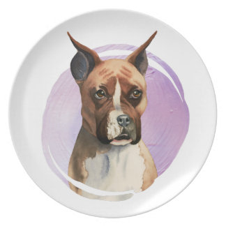 Boxer Dog Watercolor Painting Plate