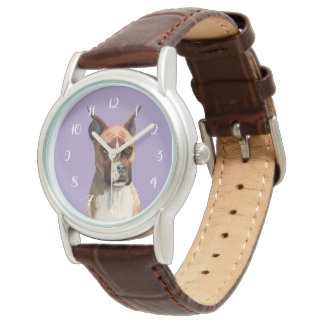 Boxer Dog Watercolor Painting Watch