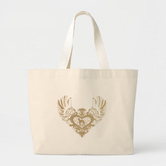 Boxer Dog Winged Heart Large Tote Bag