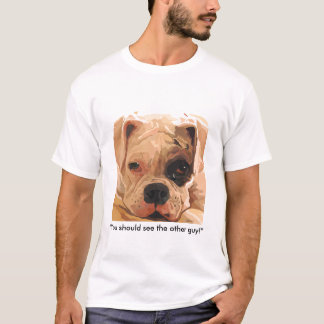 Boxer Dog with Black Eye Painting tshirt
