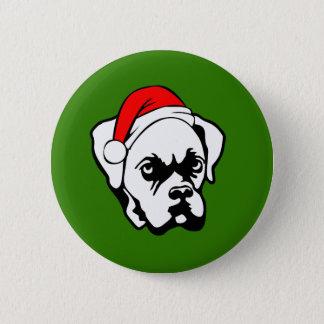 Boxer Dog with Christmas Santa Hat 6 Cm Round Badge