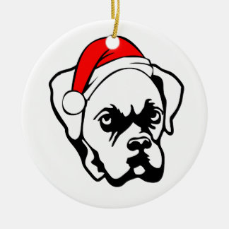 Boxer Dog with Christmas Santa Hat Christmas Ornament