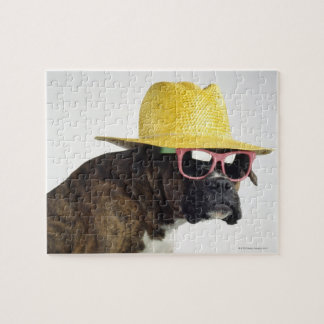 Boxer dog with hat and glasses jigsaw puzzle