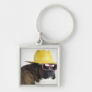 Boxer dog with hat and glasses key ring