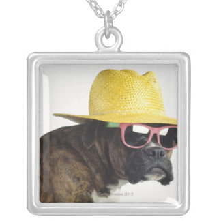 Boxer dog with hat and glasses silver plated necklace