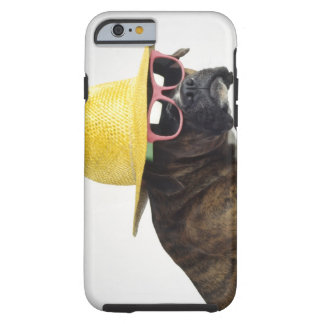 Boxer dog with hat and glasses tough iPhone 6 case