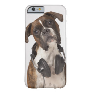 boxer dog with headphones barely there iPhone 6 case