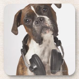 boxer dog with headphones coaster