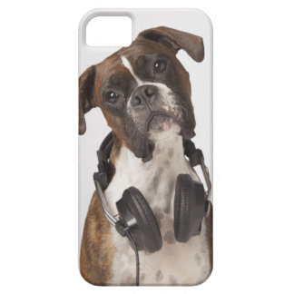 boxer dog with headphones iPhone 5 cases