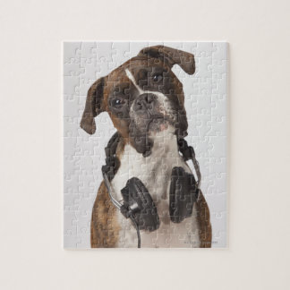 boxer dog with headphones jigsaw puzzle